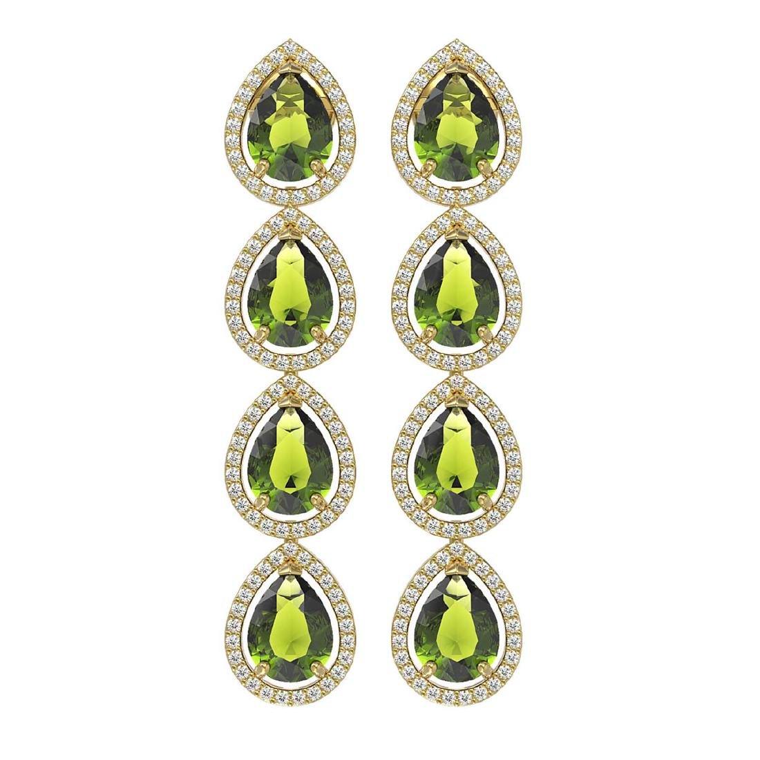 10.48 CTW Tourmaline & Diamond Halo Earrings 10K Yellow