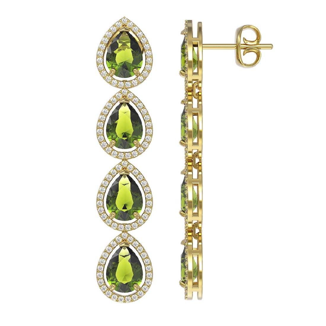 10.48 CTW Tourmaline & Diamond Halo Earrings 10K Yellow - 2