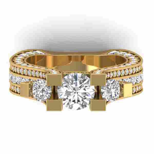 55 CTW Certified VSSI Diamond Art Deco 3 Stone Micro