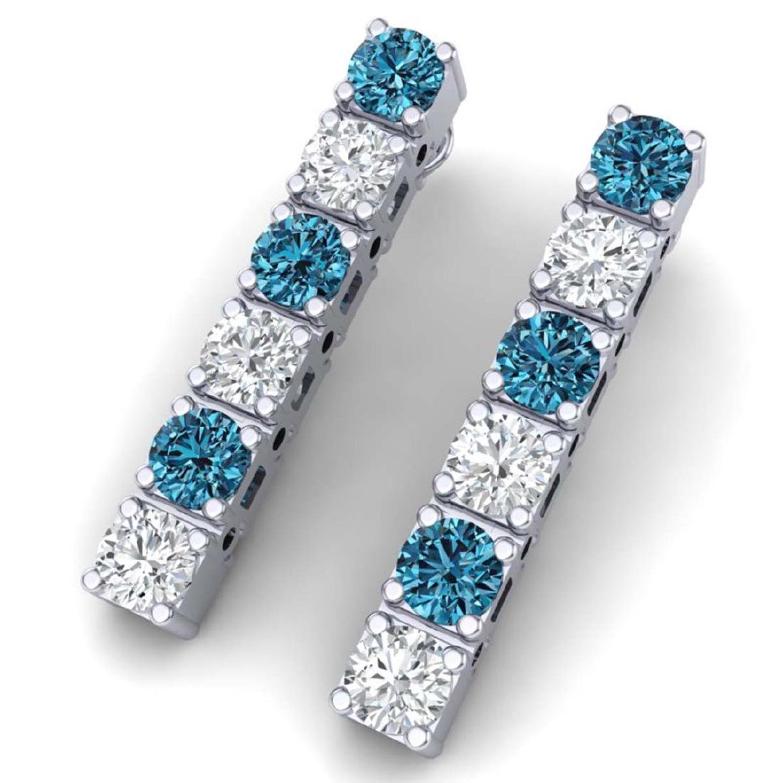 6 CTW SI/I Intense Blue & White Diamond Earrings 18K