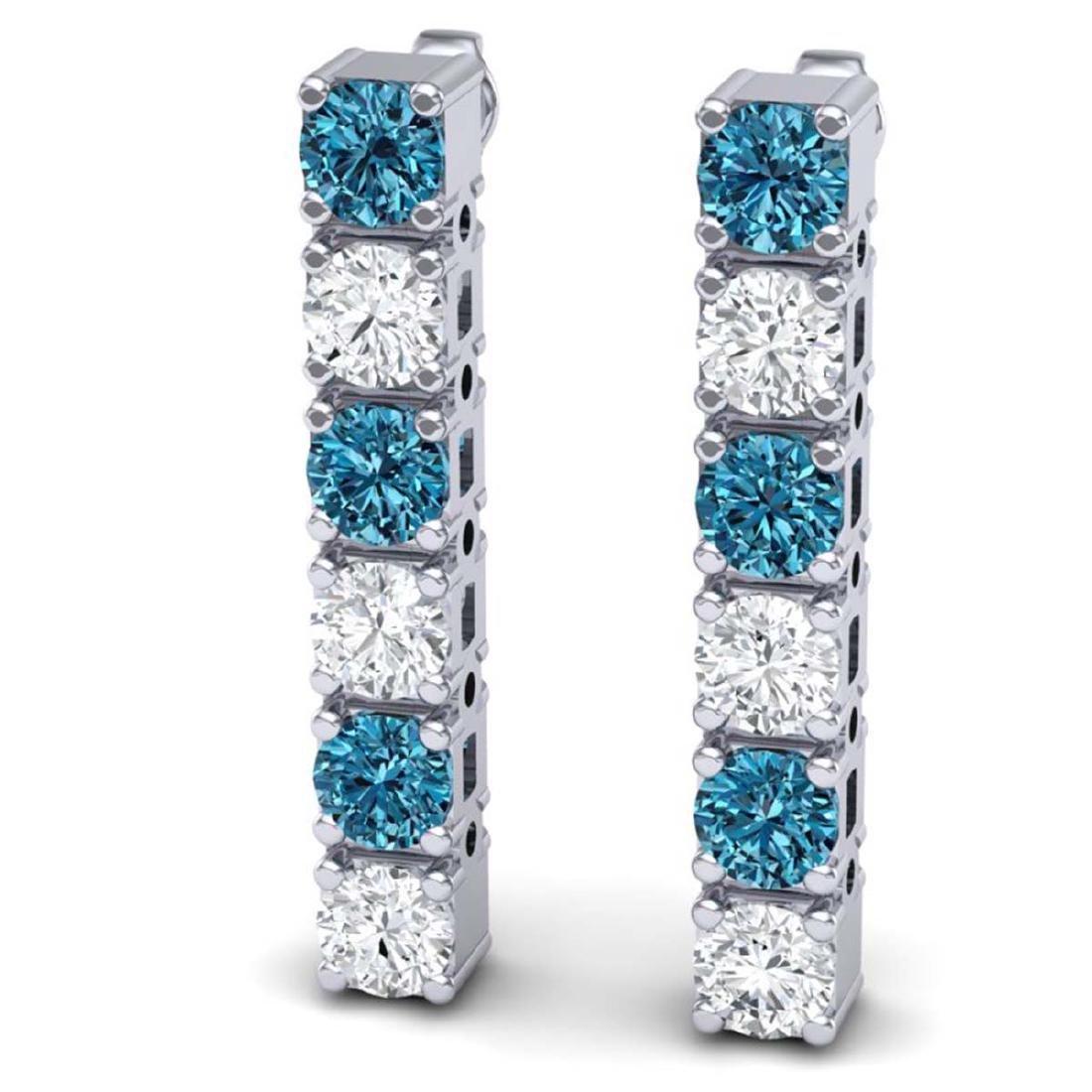 6 CTW SI/I Intense Blue & White Diamond Earrings 18K - 2