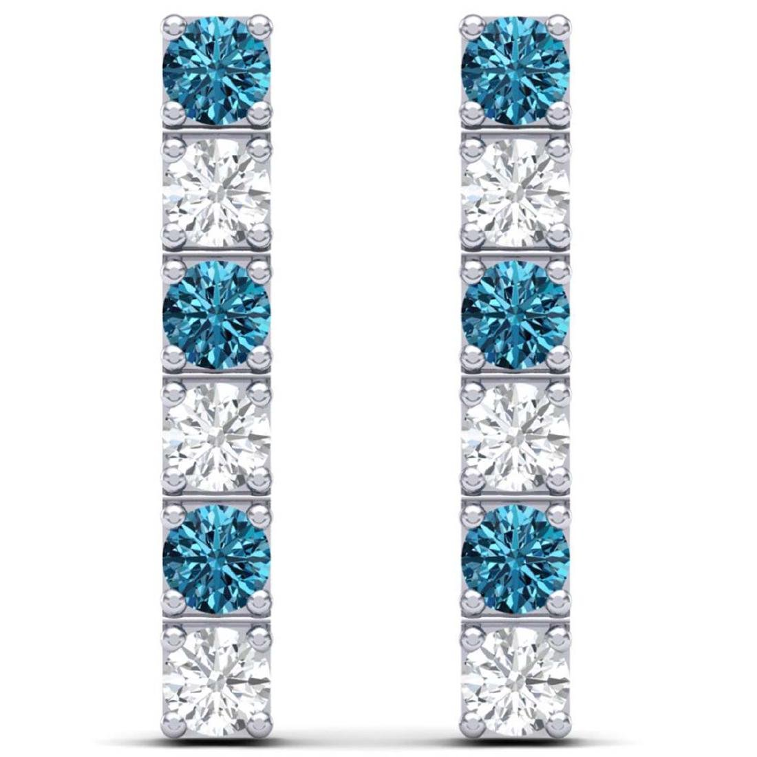 6 CTW SI/I Intense Blue & White Diamond Earrings 18K - 3