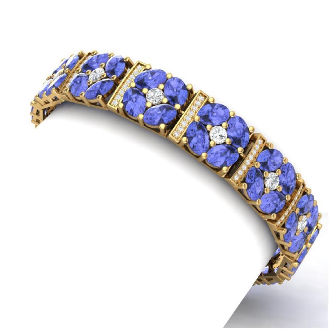 30.98 CTW Royalty Tanzanite & VS Diamond Bracelet 18K - 2
