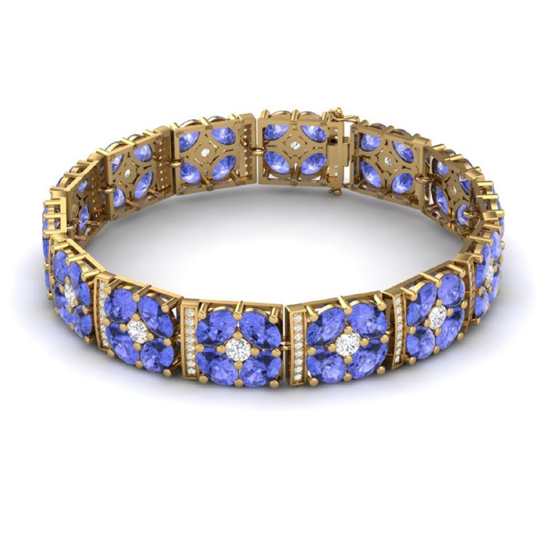30.98 CTW Royalty Tanzanite & VS Diamond Bracelet 18K - 3