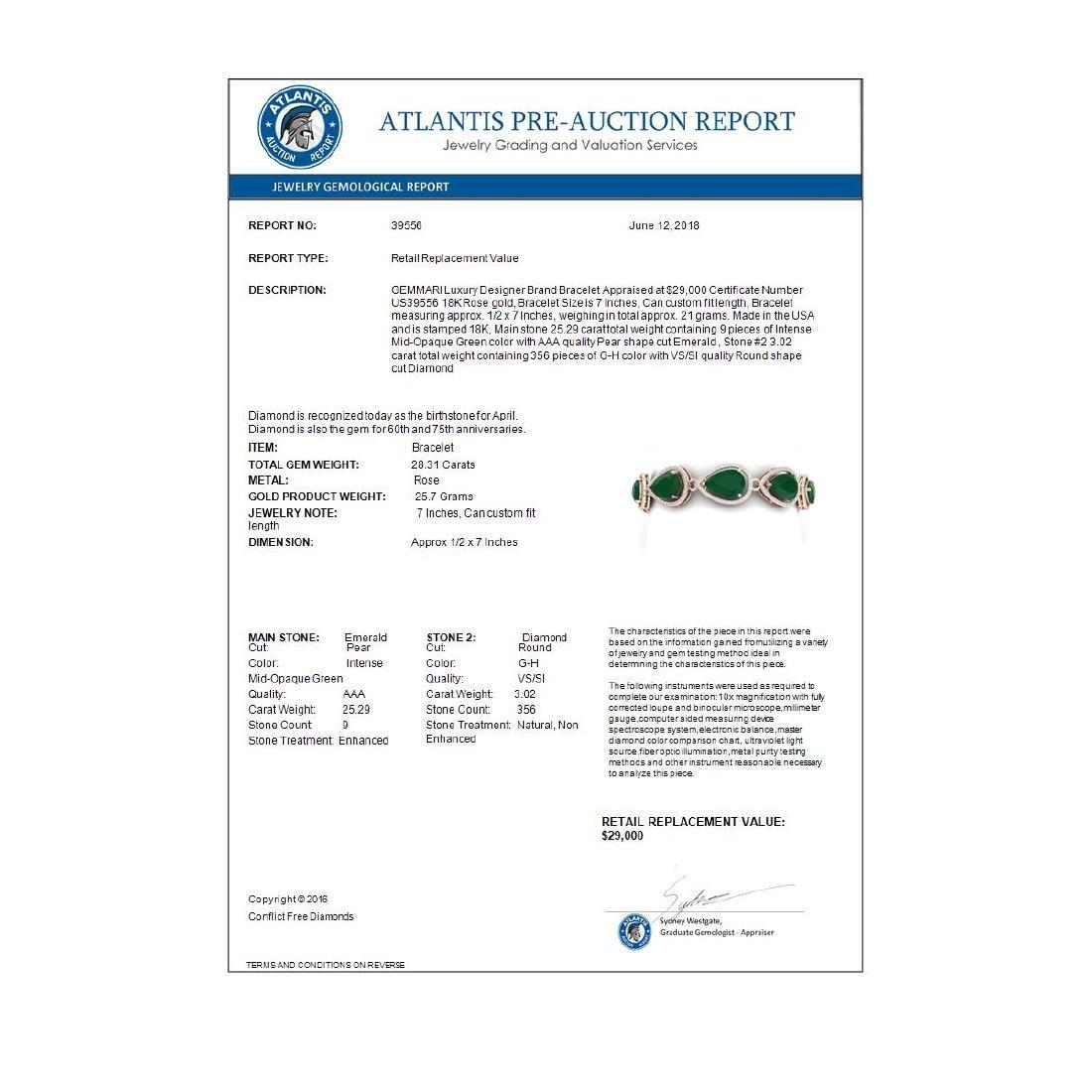 28.31 CTW Royalty Emerald & VS Diamond Bracelet 18K - 4