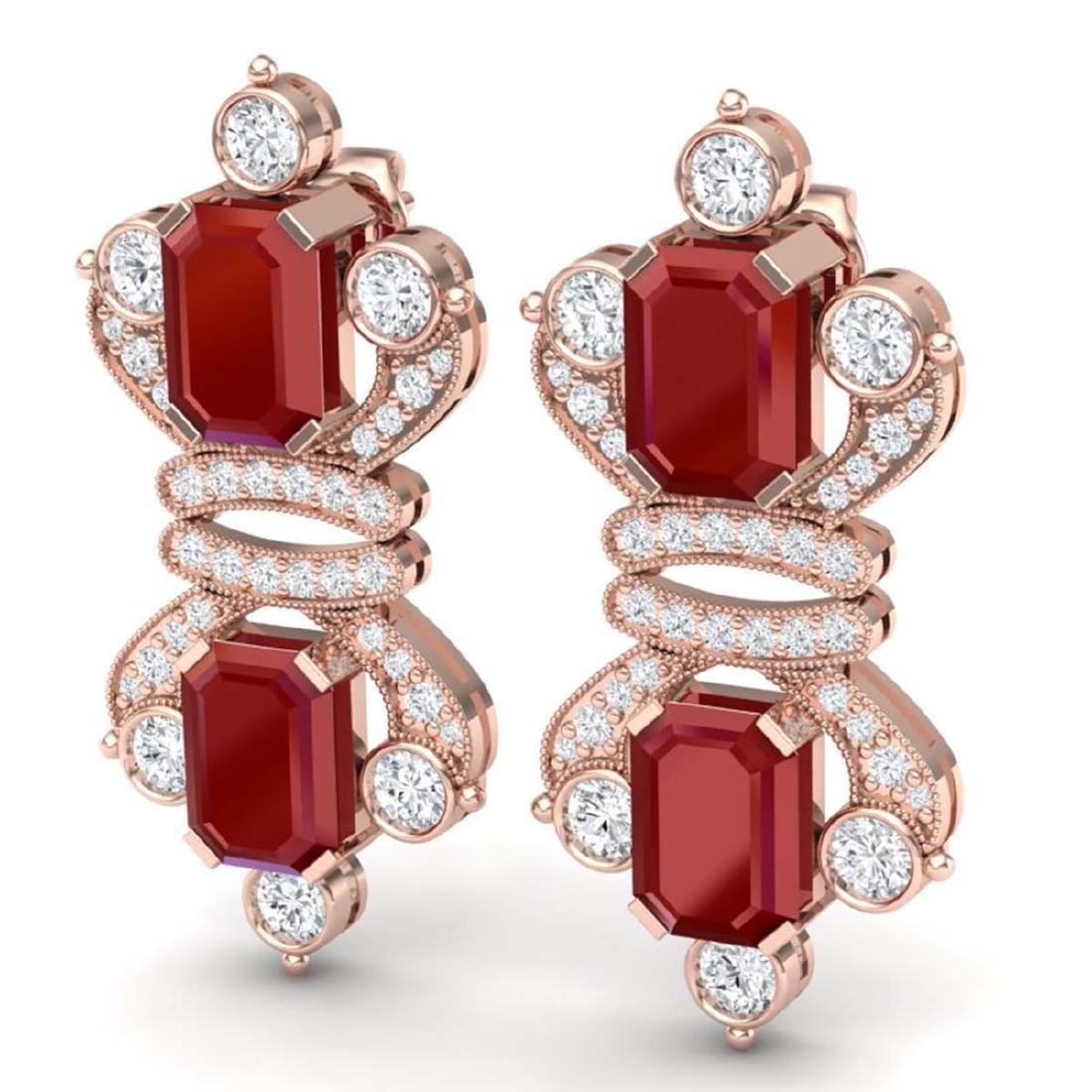 27.36 CTW Royalty Designer Ruby & VS Diamond Earrings - 2