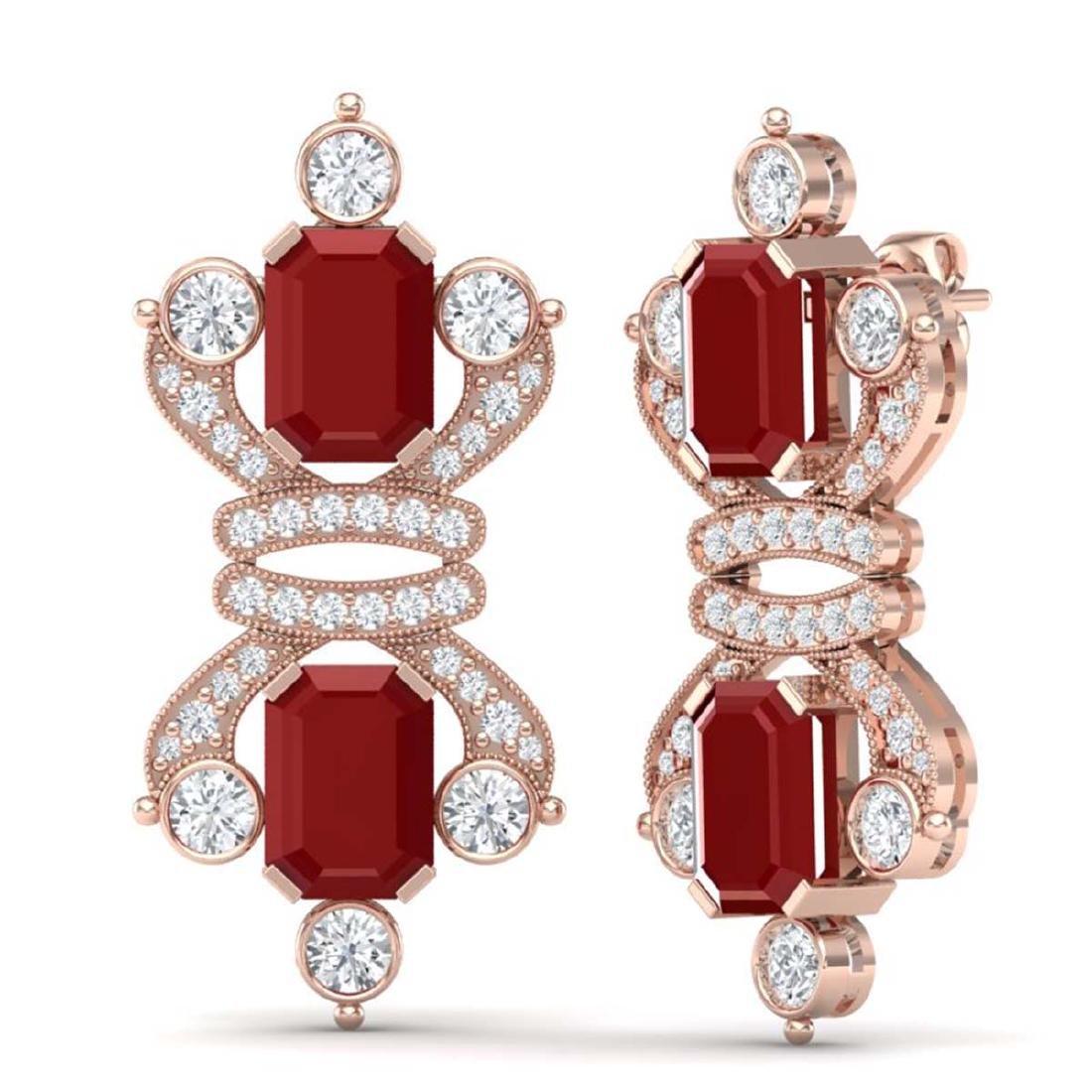 27.36 CTW Royalty Designer Ruby & VS Diamond Earrings - 3