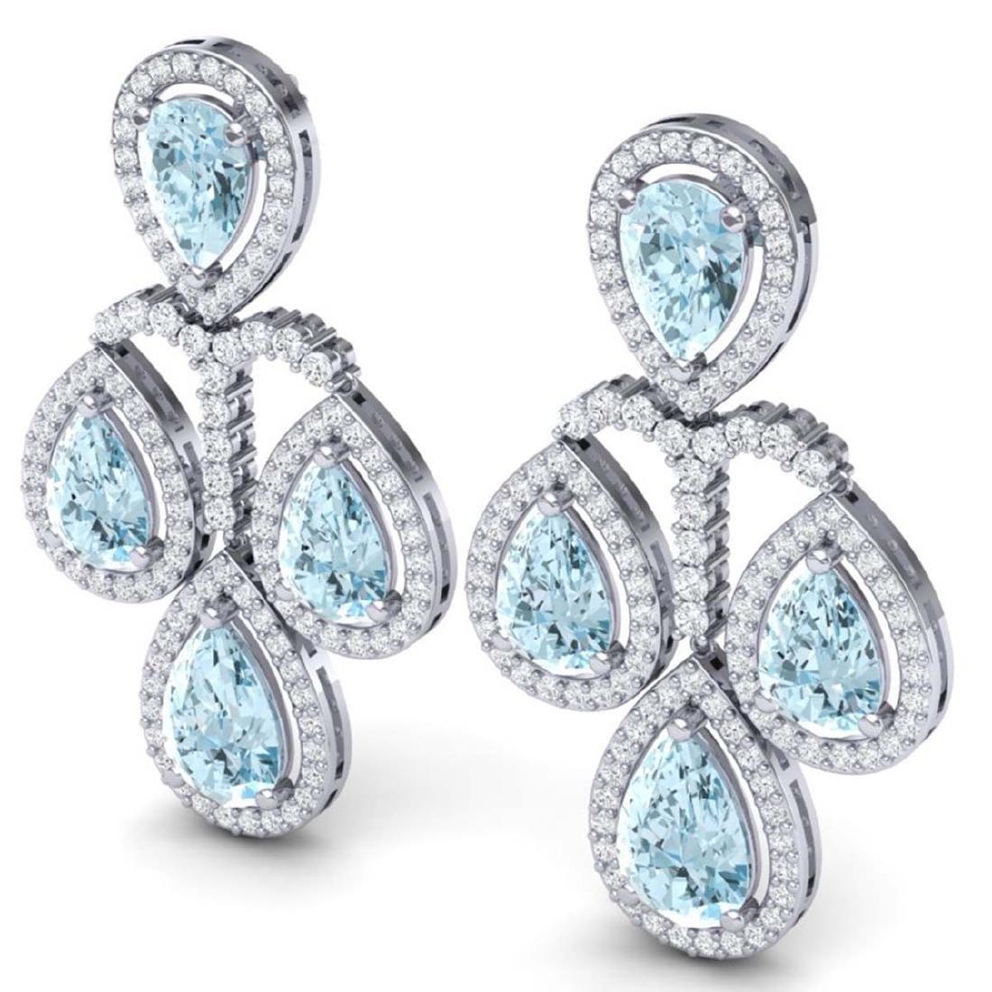 30.54 CTW Royalty Sky Topaz & VS Diamond Earrings 18K - 2