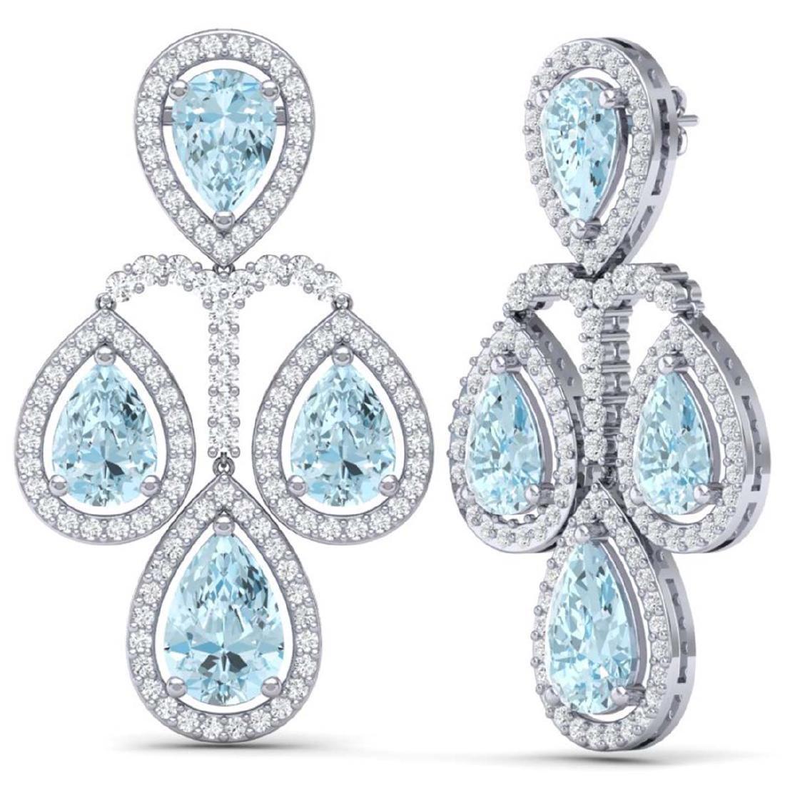 30.54 CTW Royalty Sky Topaz & VS Diamond Earrings 18K - 3
