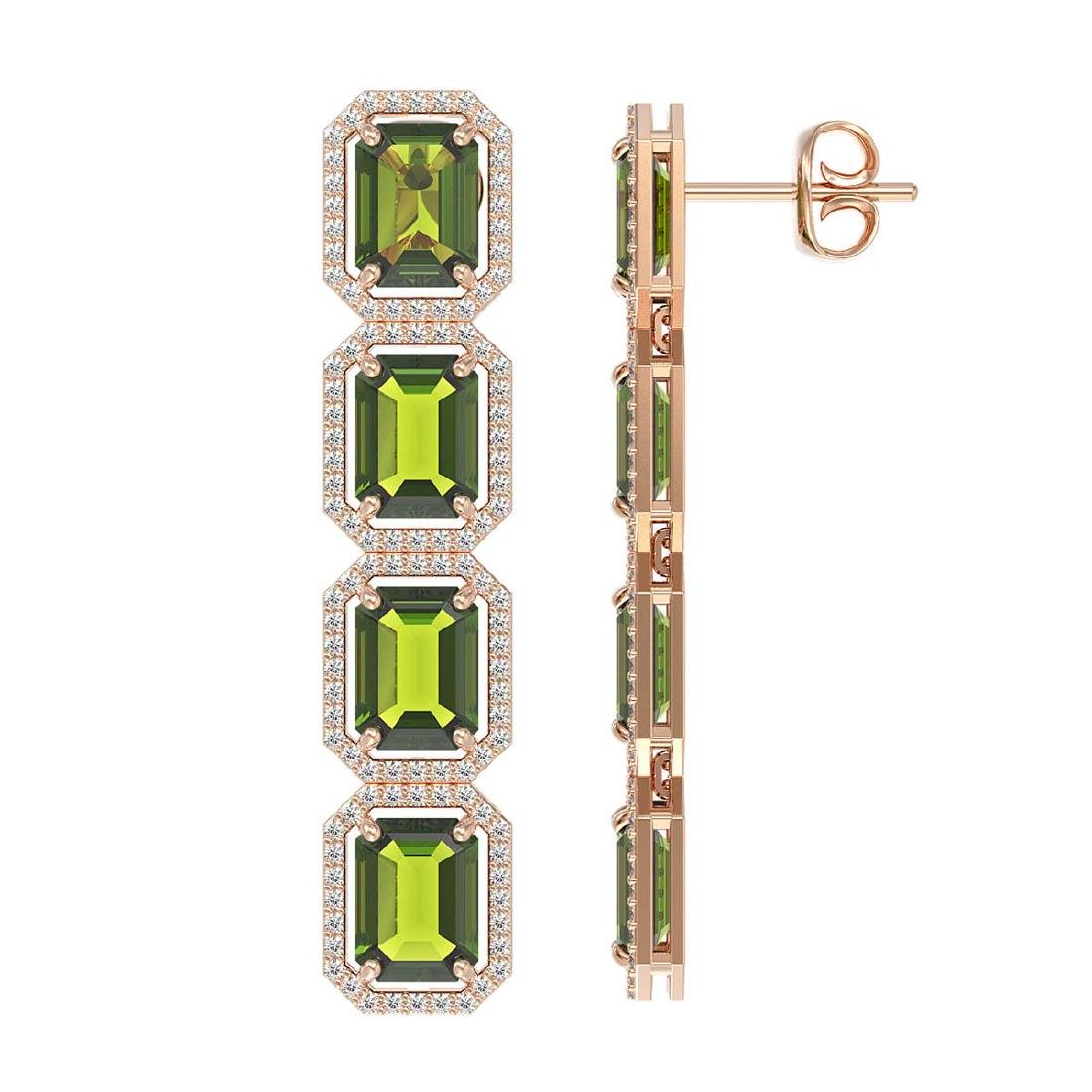19.44 CTW Tourmaline & Diamond Halo Earrings 10K Rose - 2