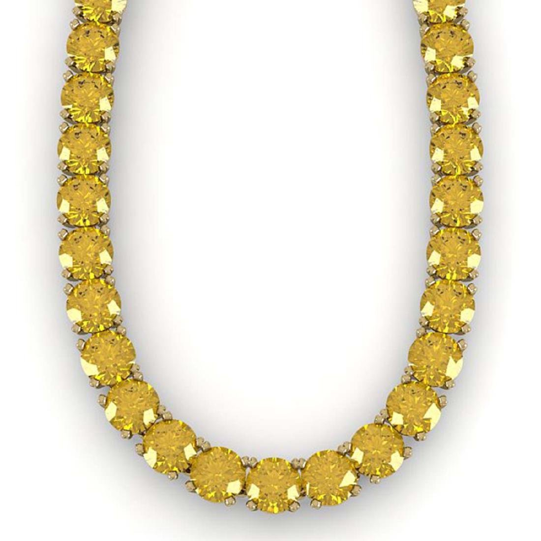30 CTW Certified Fancy Yellow SI Diamond Necklace 14K - 2