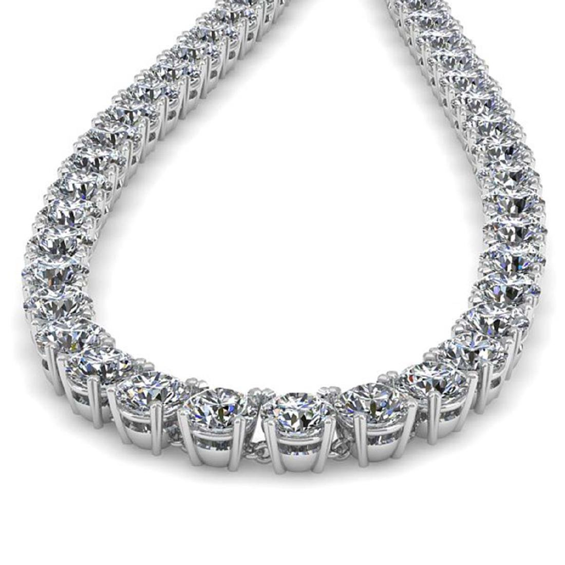 30 CTW Certified SI Diamond Necklace 18K White Gold - - 2