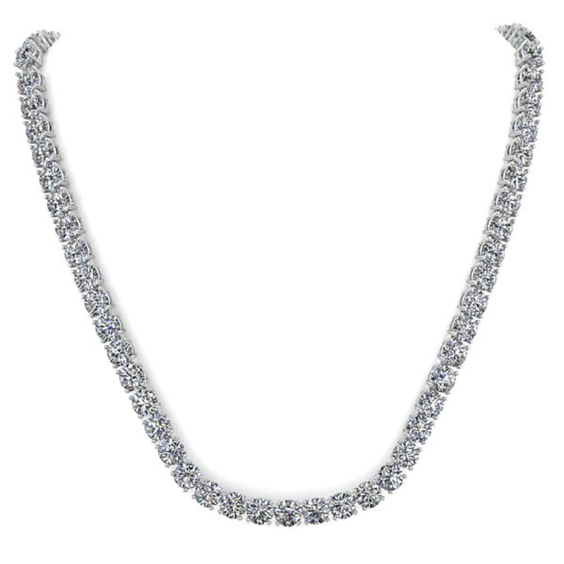 30 CTW Certified SI Diamond Necklace 18K White Gold - - 3