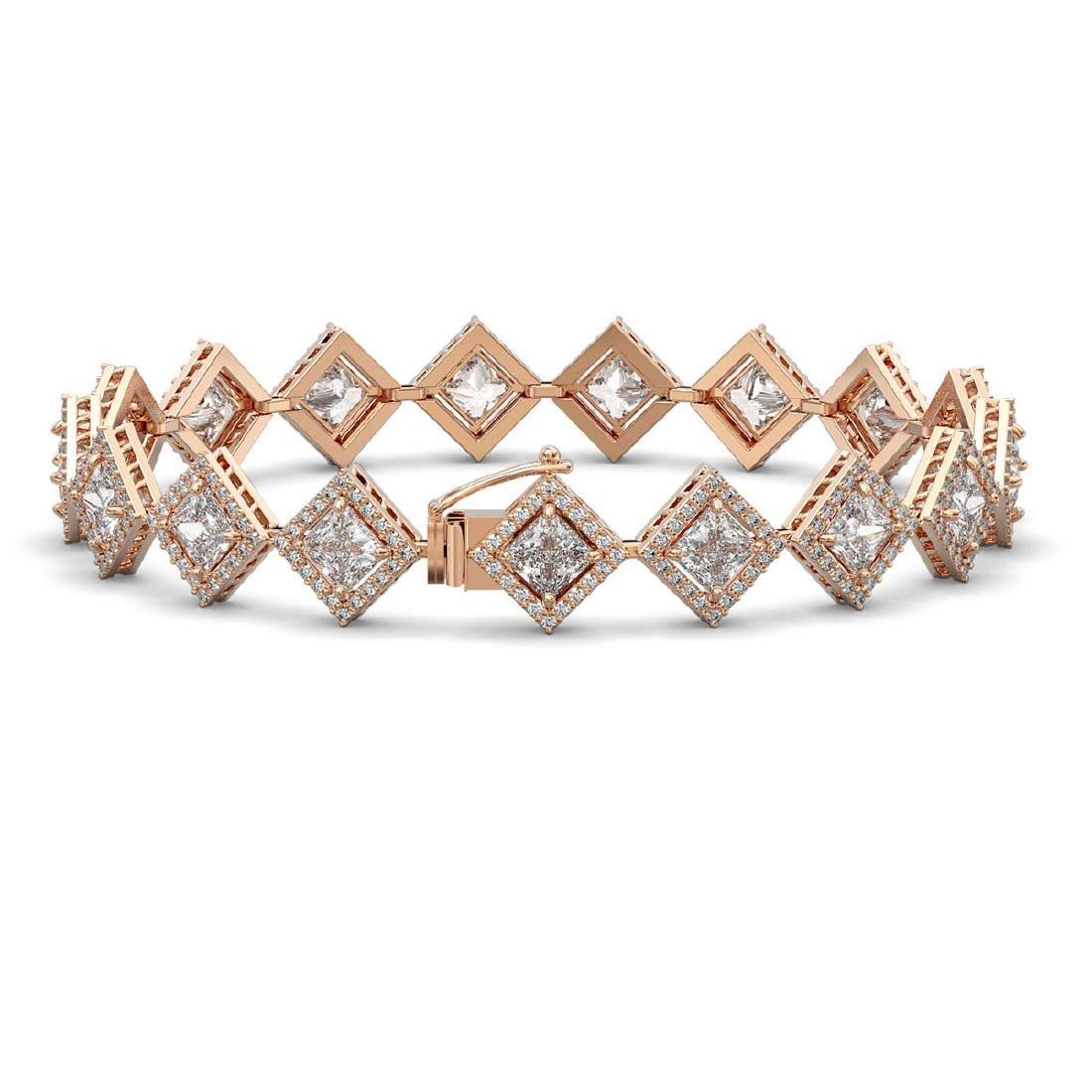 13.5 CTW Princess Cut Diamond Designer Bracelet 18K - 2