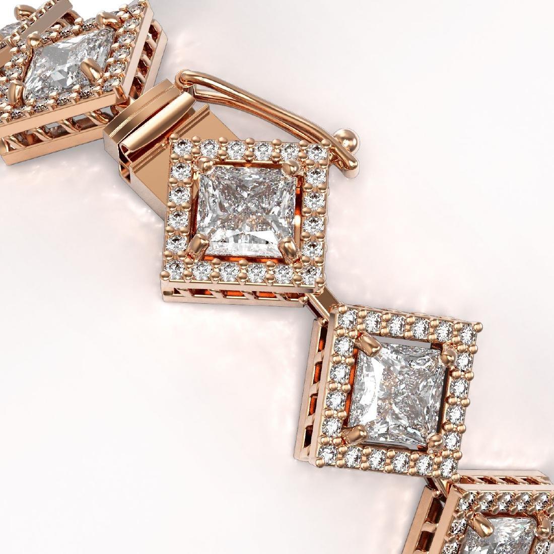 13.5 CTW Princess Cut Diamond Designer Bracelet 18K - 3