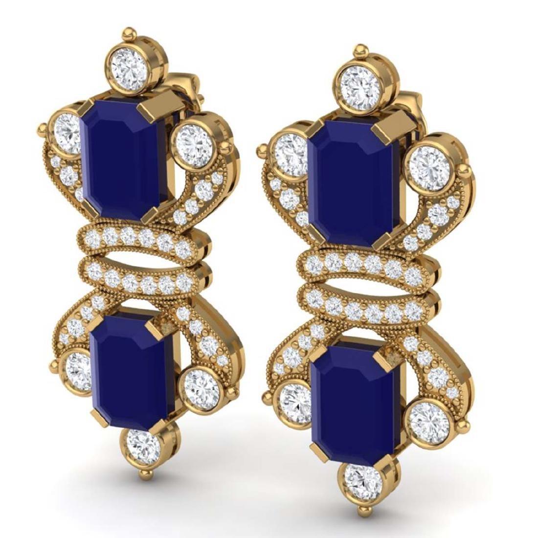 27.36 CTW Royalty Sapphire & VS Diamond Earrings 18K - 2