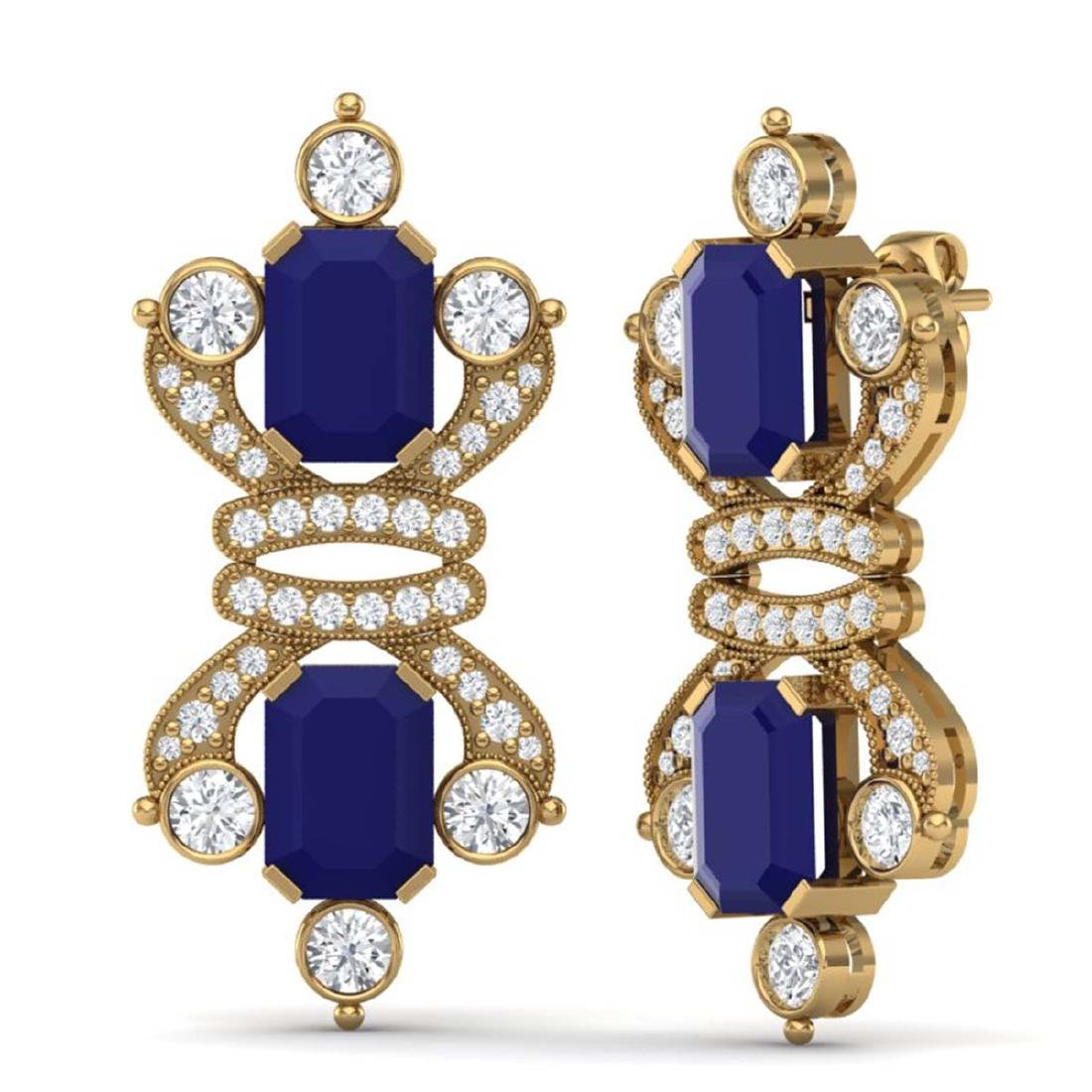 27.36 CTW Royalty Sapphire & VS Diamond Earrings 18K - 3