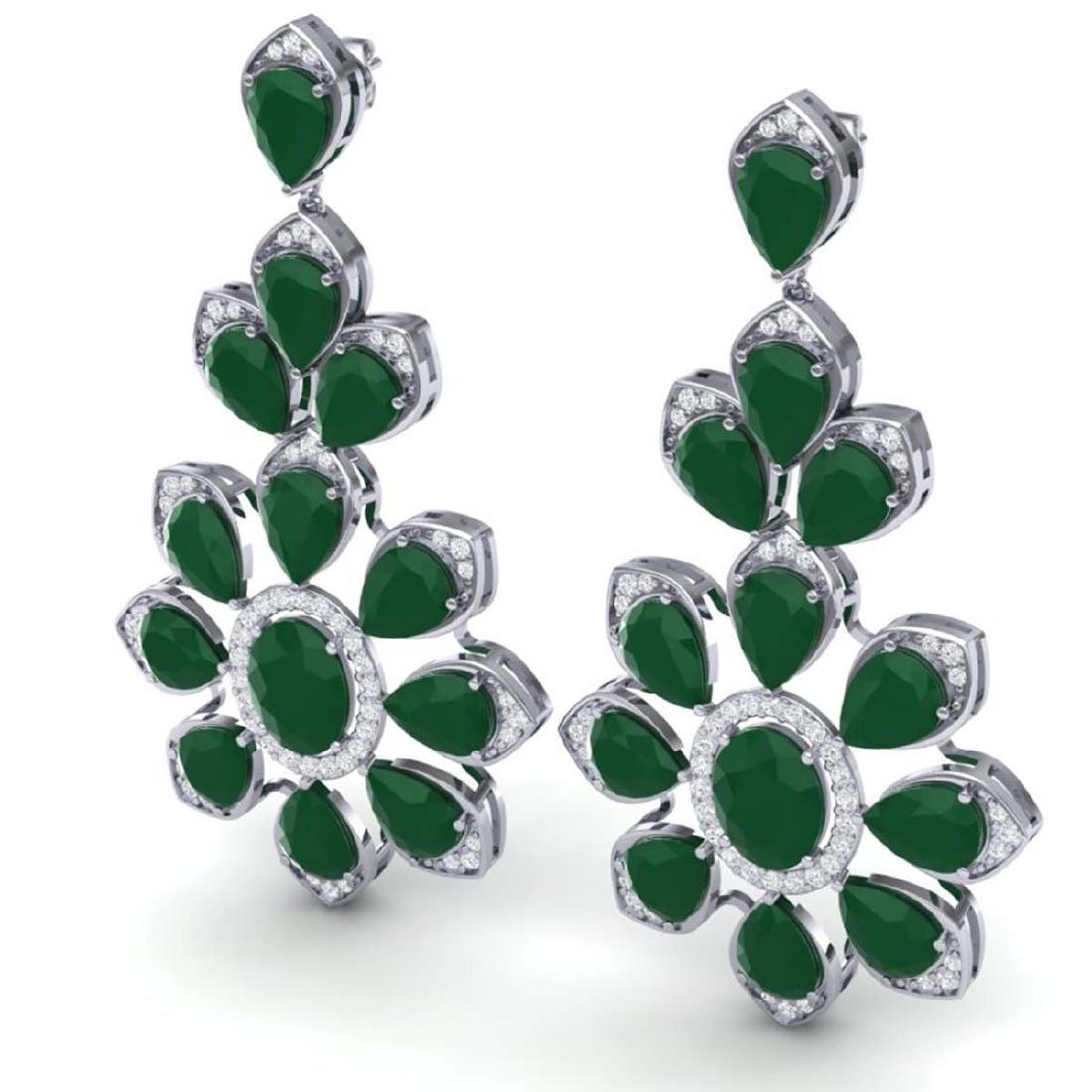 51.8 CTW Royalty Emerald & VS Diamond Earrings 18K - 2