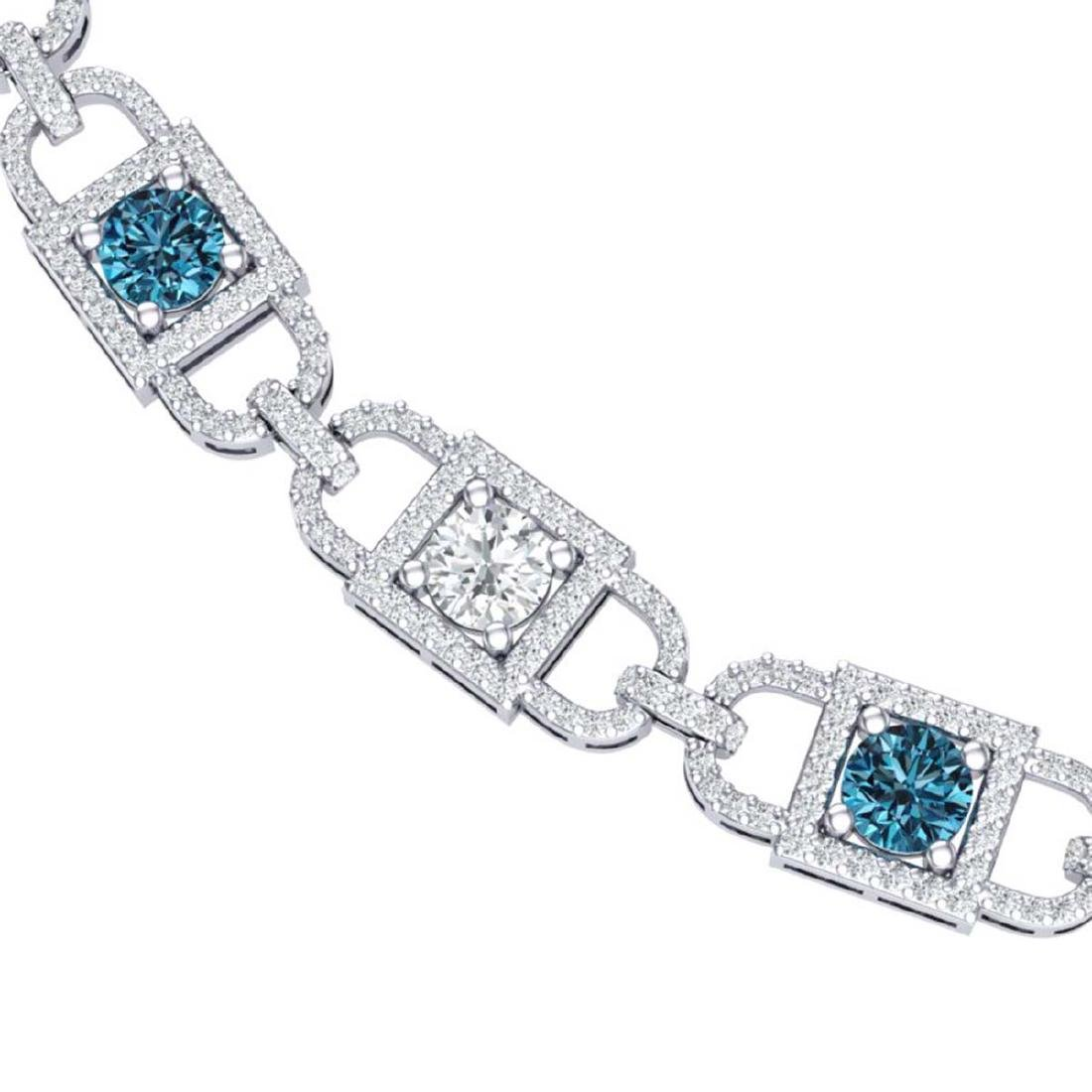 20 CTW SI/I Intense Blue And White Diamond Necklace 18K - 2