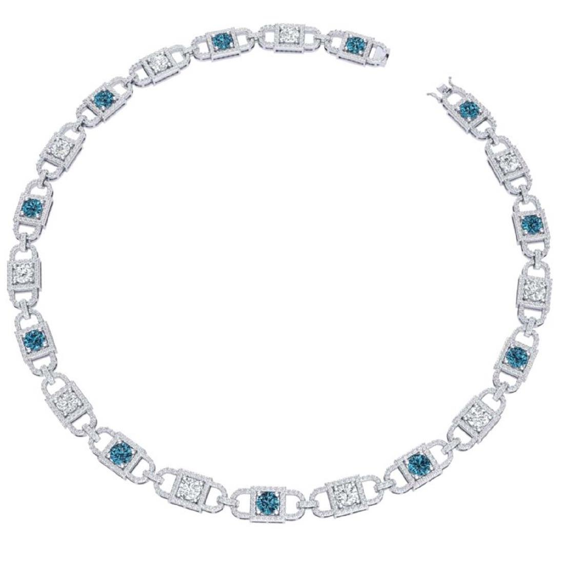 20 CTW SI/I Intense Blue And White Diamond Necklace 18K - 3