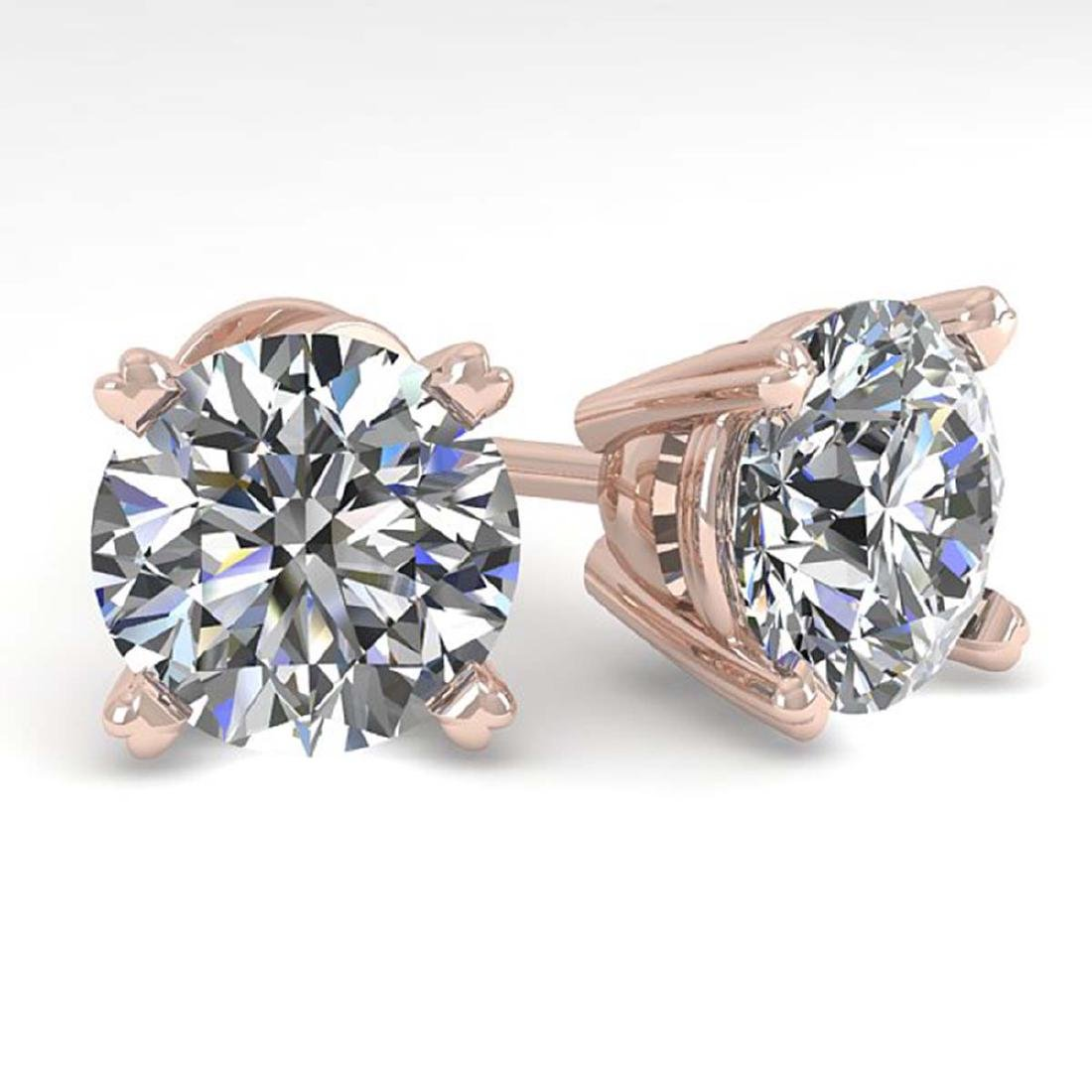 4 CTW Certified VS/SI Diamond Stud Earrings 14K Rose