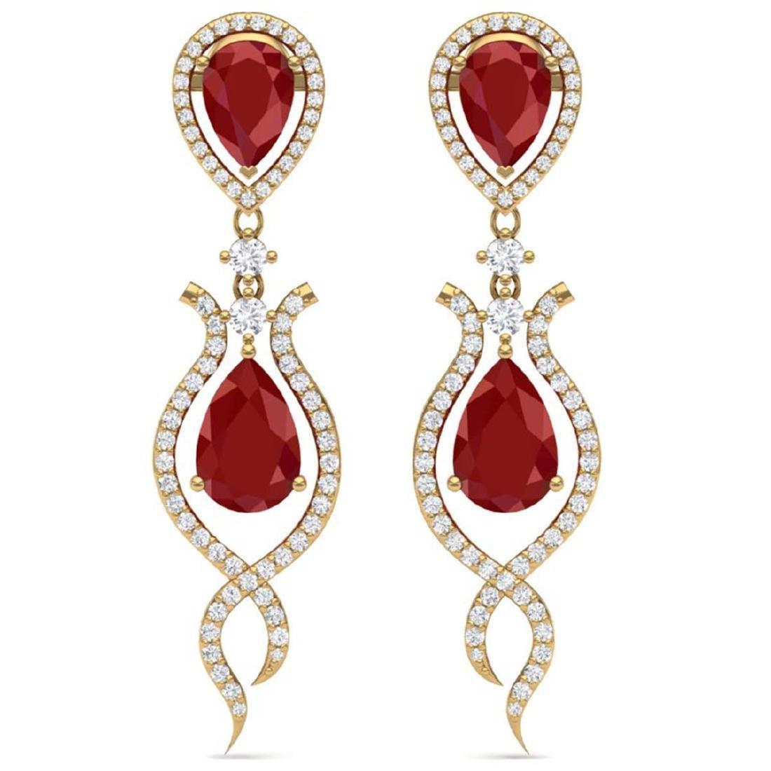 16.57 CTW Royalty Designer Ruby & VS Diamond Earrings
