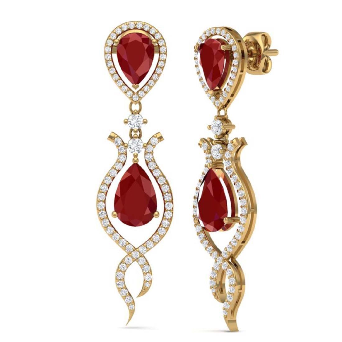 16.57 CTW Royalty Designer Ruby & VS Diamond Earrings - 3