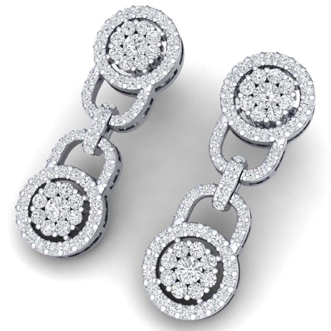 2.30 CTW Certified SI/I Diamond Halo Earrings 18K White