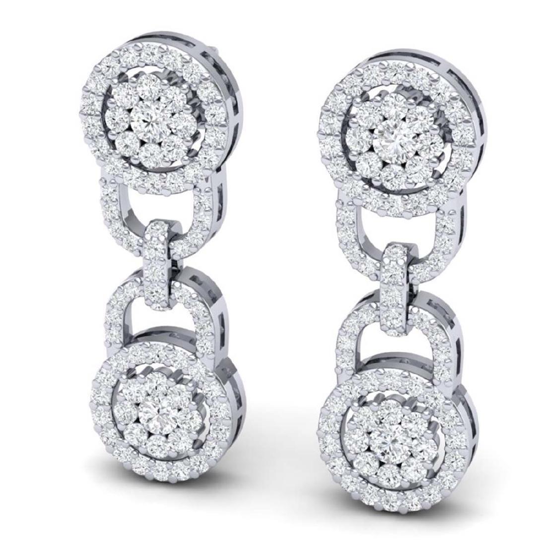 2.30 CTW Certified SI/I Diamond Halo Earrings 18K White - 2