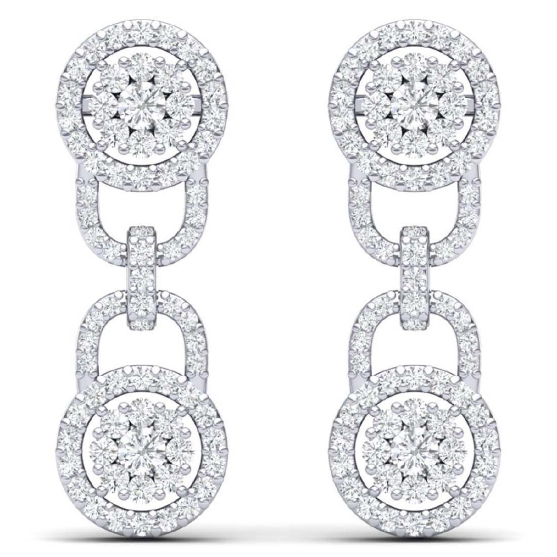 2.30 CTW Certified SI/I Diamond Halo Earrings 18K White - 3