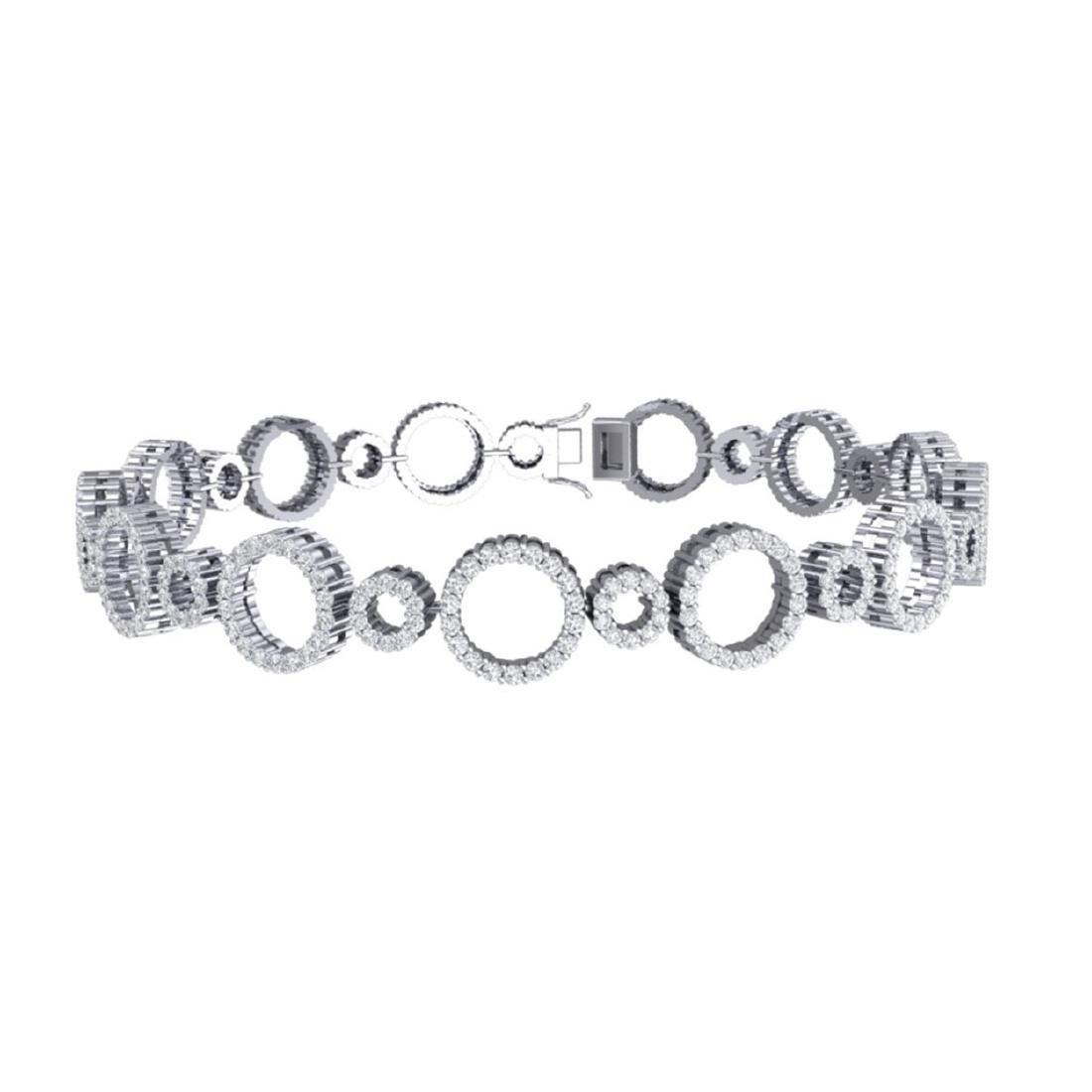 4 CTW Certified SI/I Diamond Halo Bracelet 18K White - 3