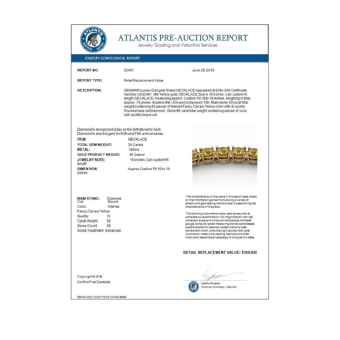 30 CTW Certified Fancy Yellow SI Diamond Necklace 18K - 4