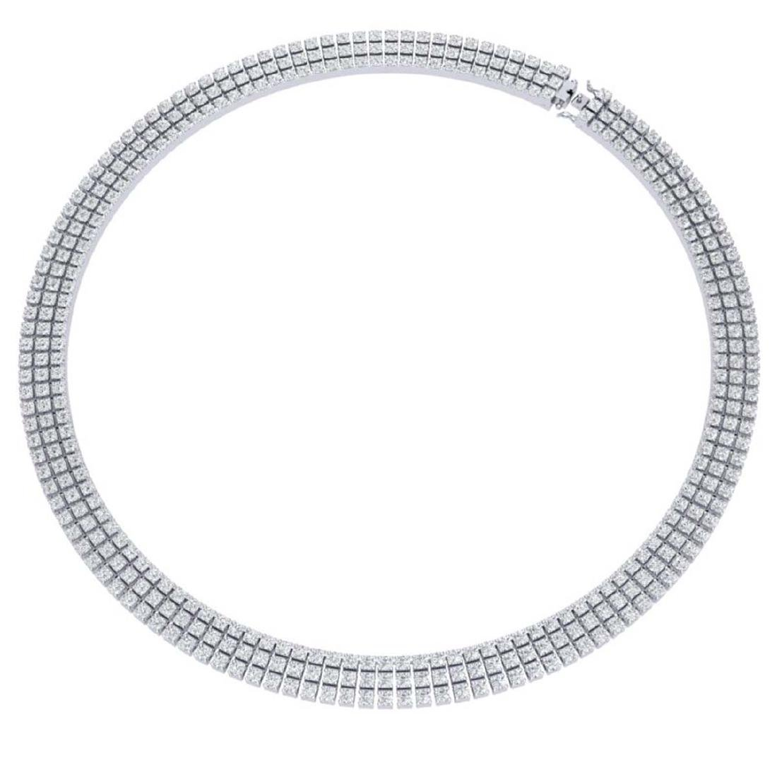 30 CTW Certified SI/I Diamond Necklace 18K White Gold - - 3