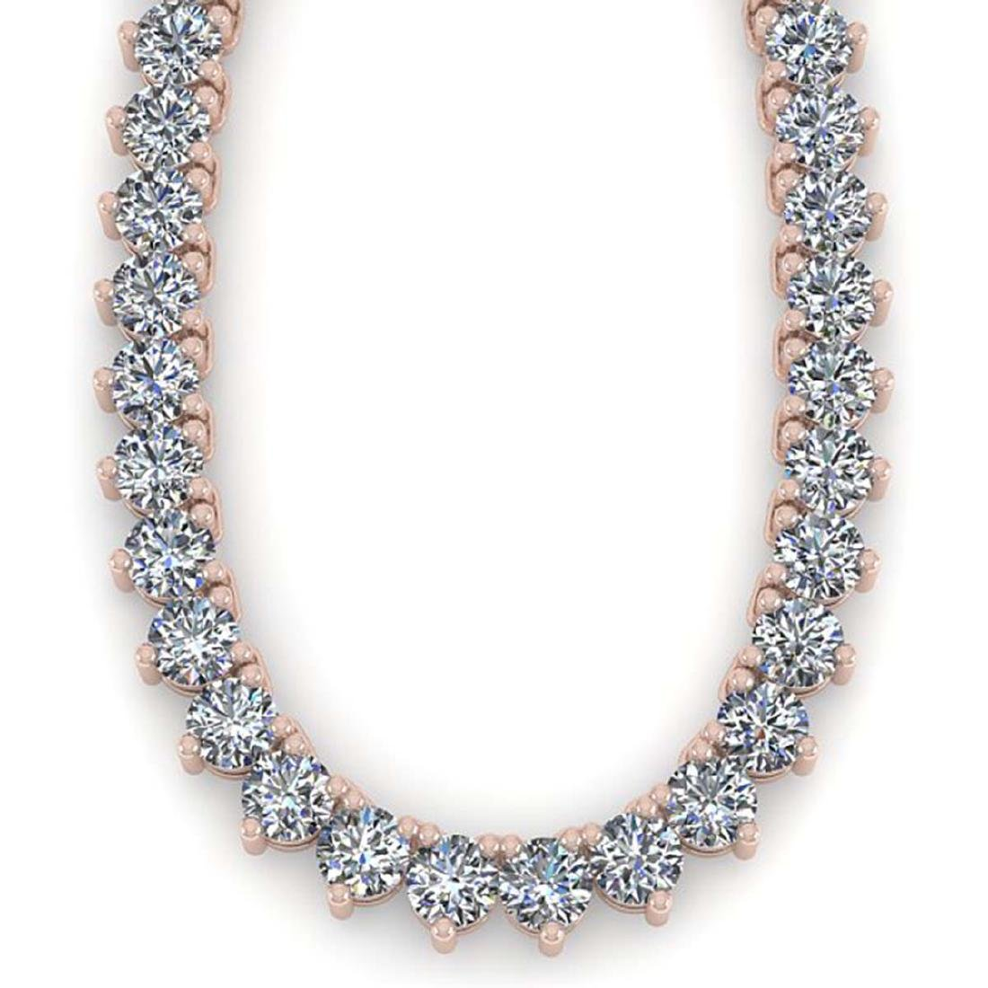 54 CTW Solitaire Certified SI Diamond Necklace 14K Rose - 2