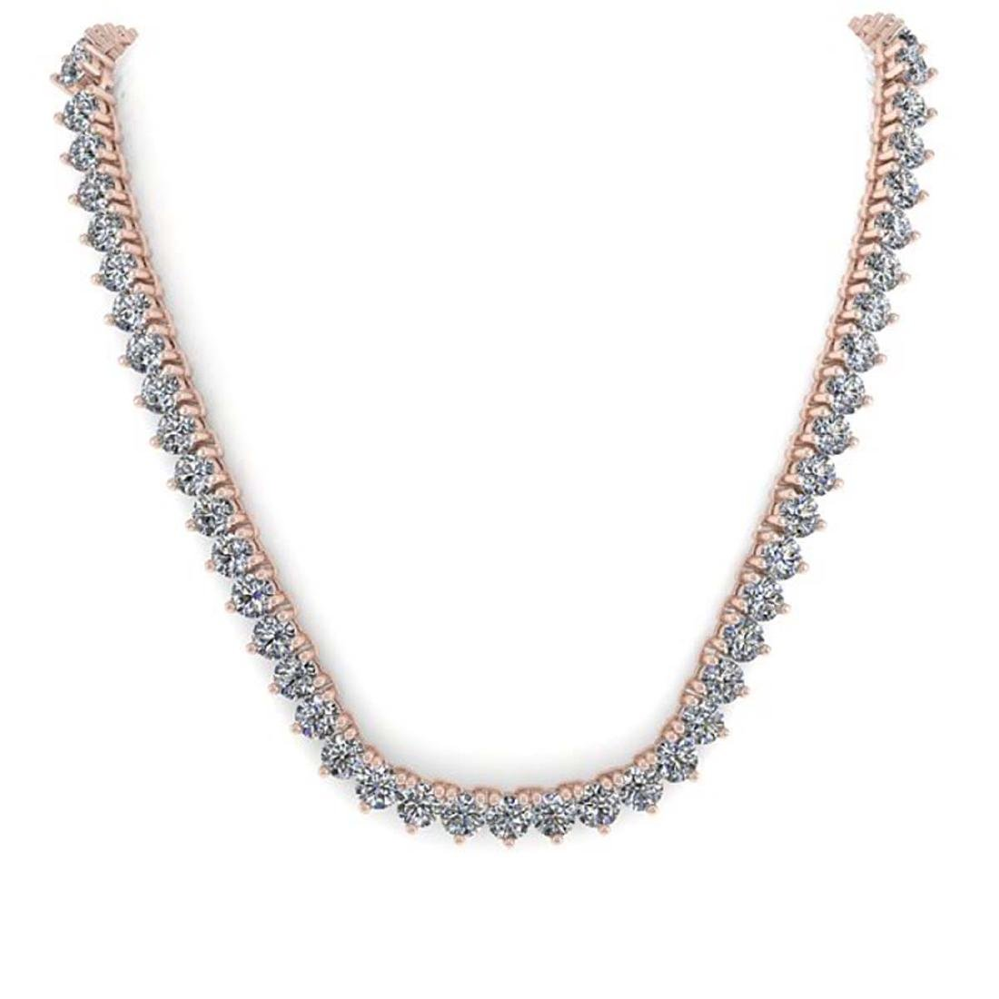 54 CTW Solitaire Certified SI Diamond Necklace 14K Rose - 3