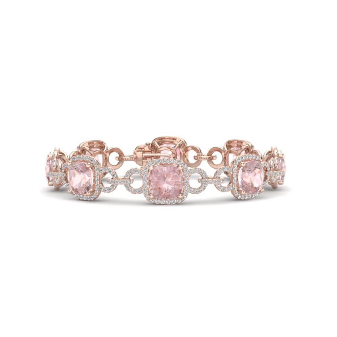 22 CTW Morganite & VS/SI Diamond Bracelet 14K Rose Gold