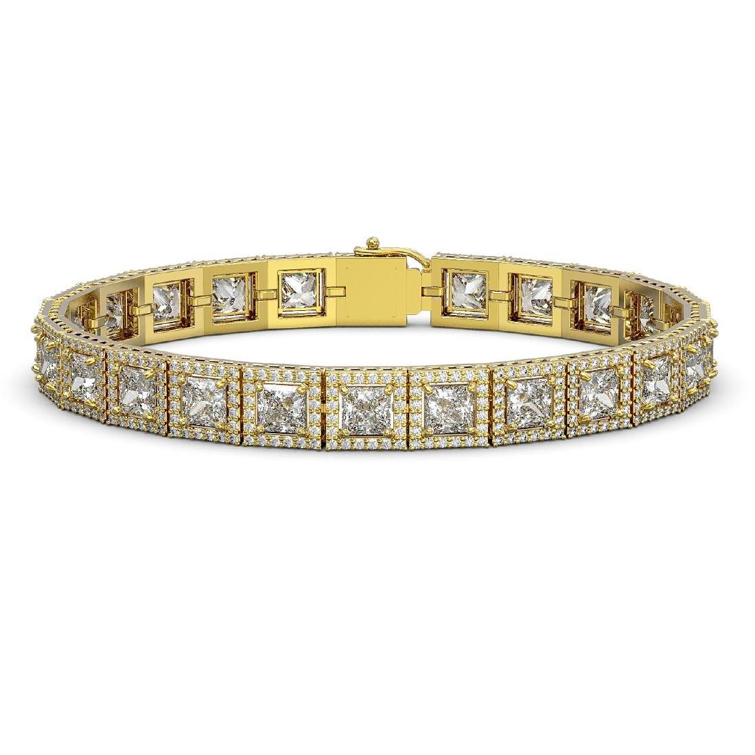 18.24 CTW Princess Diamond Designer Bracelet 18K Yellow