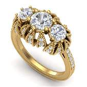 226 CTW VSSI Diamond Solitaire Art Deco 3 Stone Ring