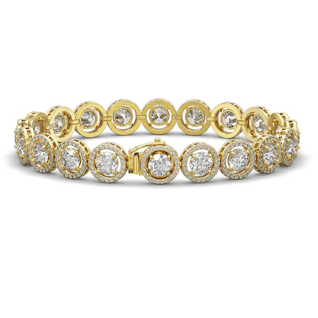 15.36 CTW Diamond Designer Bracelet 18K Yellow Gold - - 2