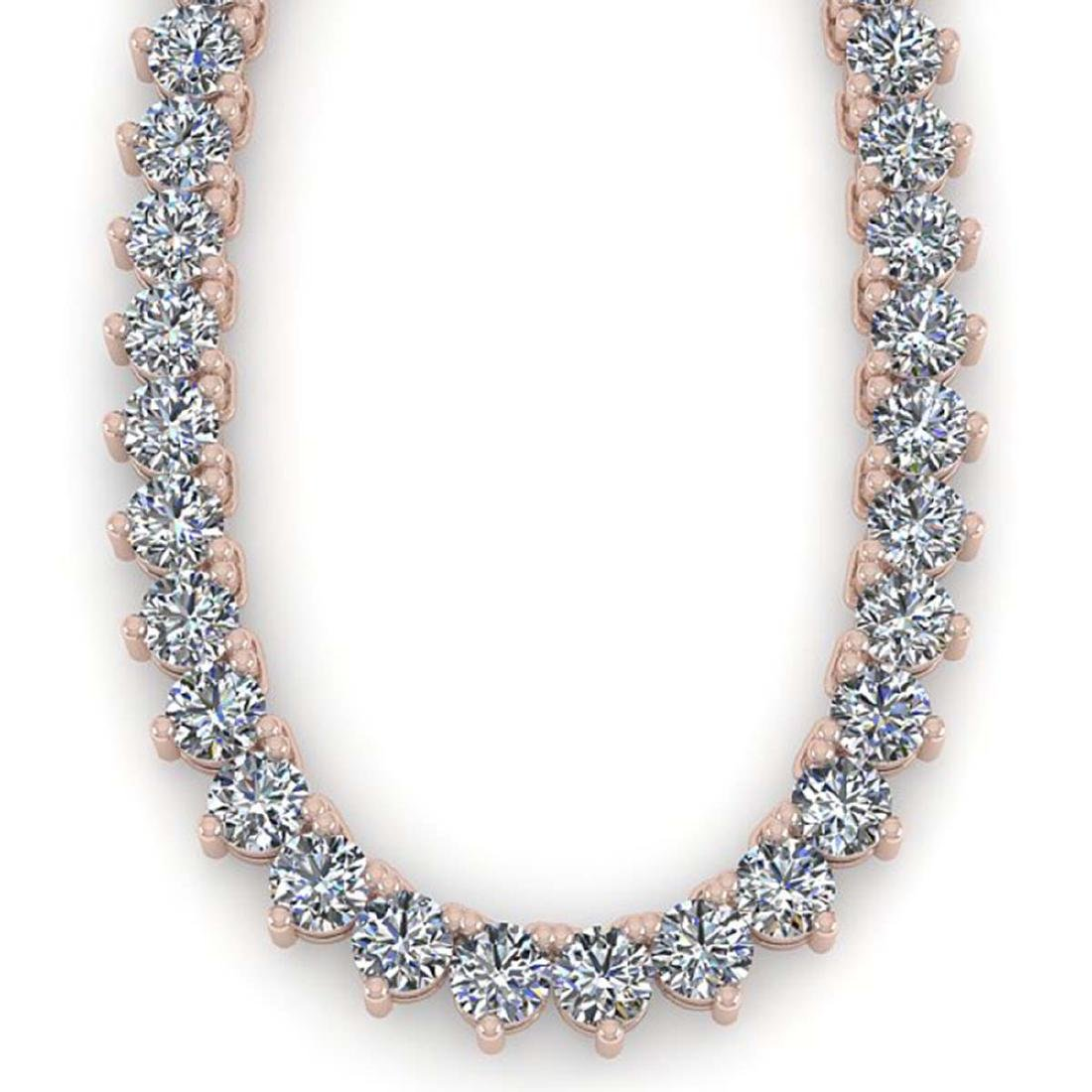 20 CTW Solitaire VS/SI Diamond Necklace 18K Rose Gold - - 2