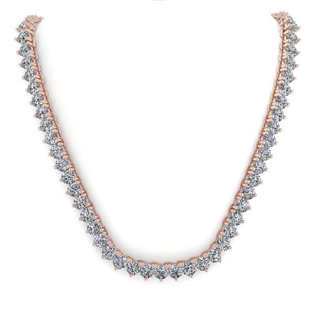 20 CTW Solitaire VS/SI Diamond Necklace 18K Rose Gold - - 3