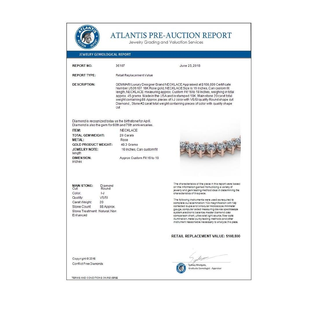 20 CTW Solitaire VS/SI Diamond Necklace 18K Rose Gold - - 4