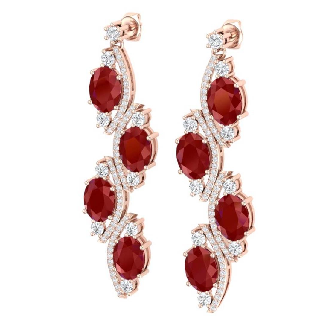 16.12 CTW Royalty Designer Ruby & VS Diamond Earrings - 2