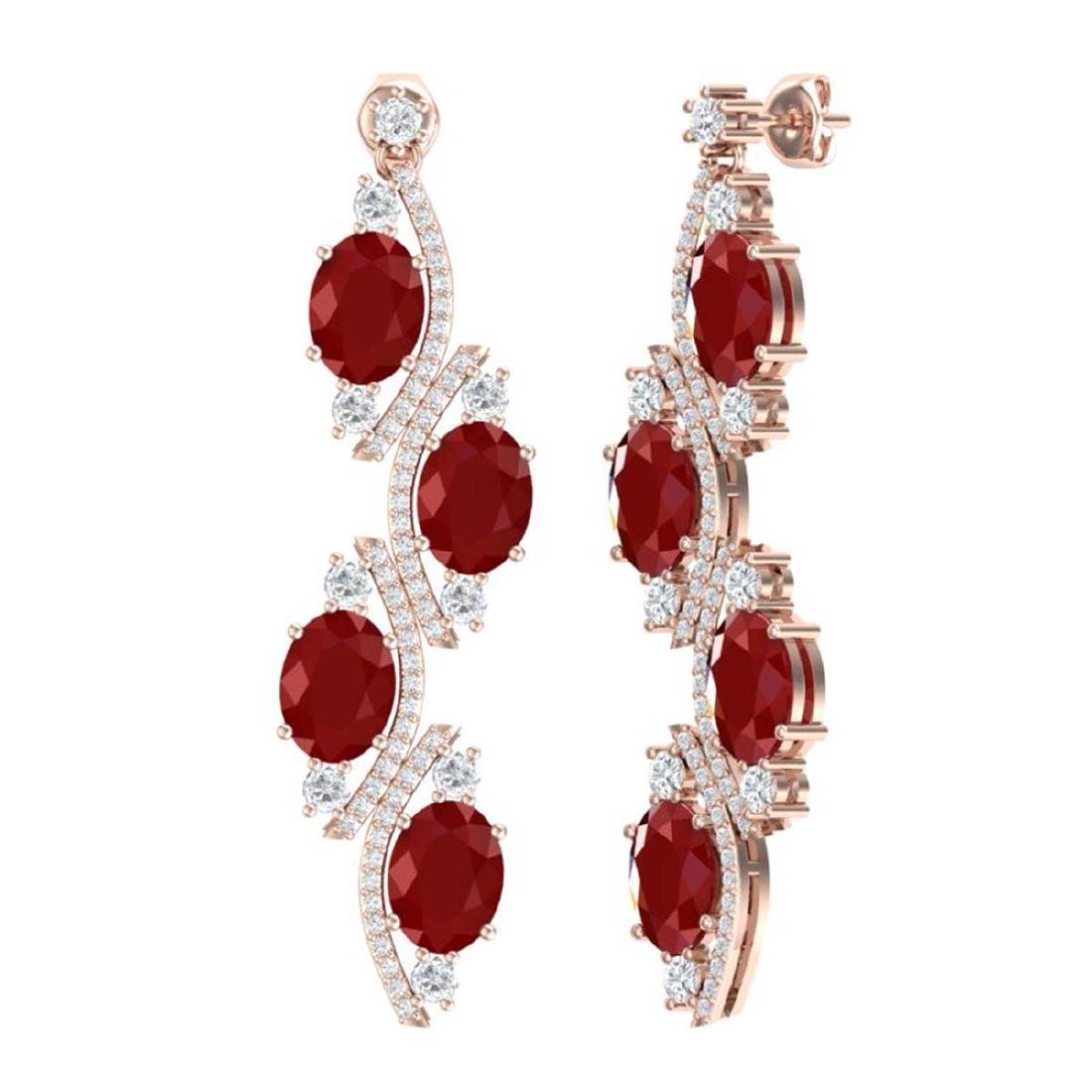 16.12 CTW Royalty Designer Ruby & VS Diamond Earrings - 3