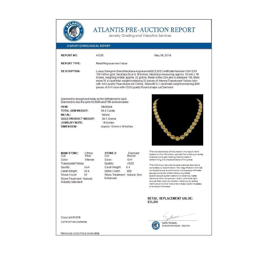 36.8 CTW Fancy Citrine & Diamond Halo Necklace 10K - 4