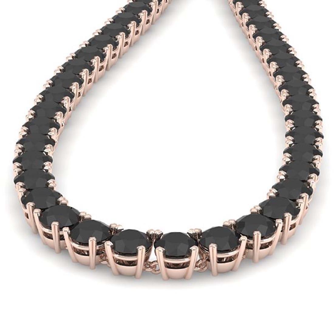 40 CTW Certified Black VS Diamond Necklace 14K Rose - 2