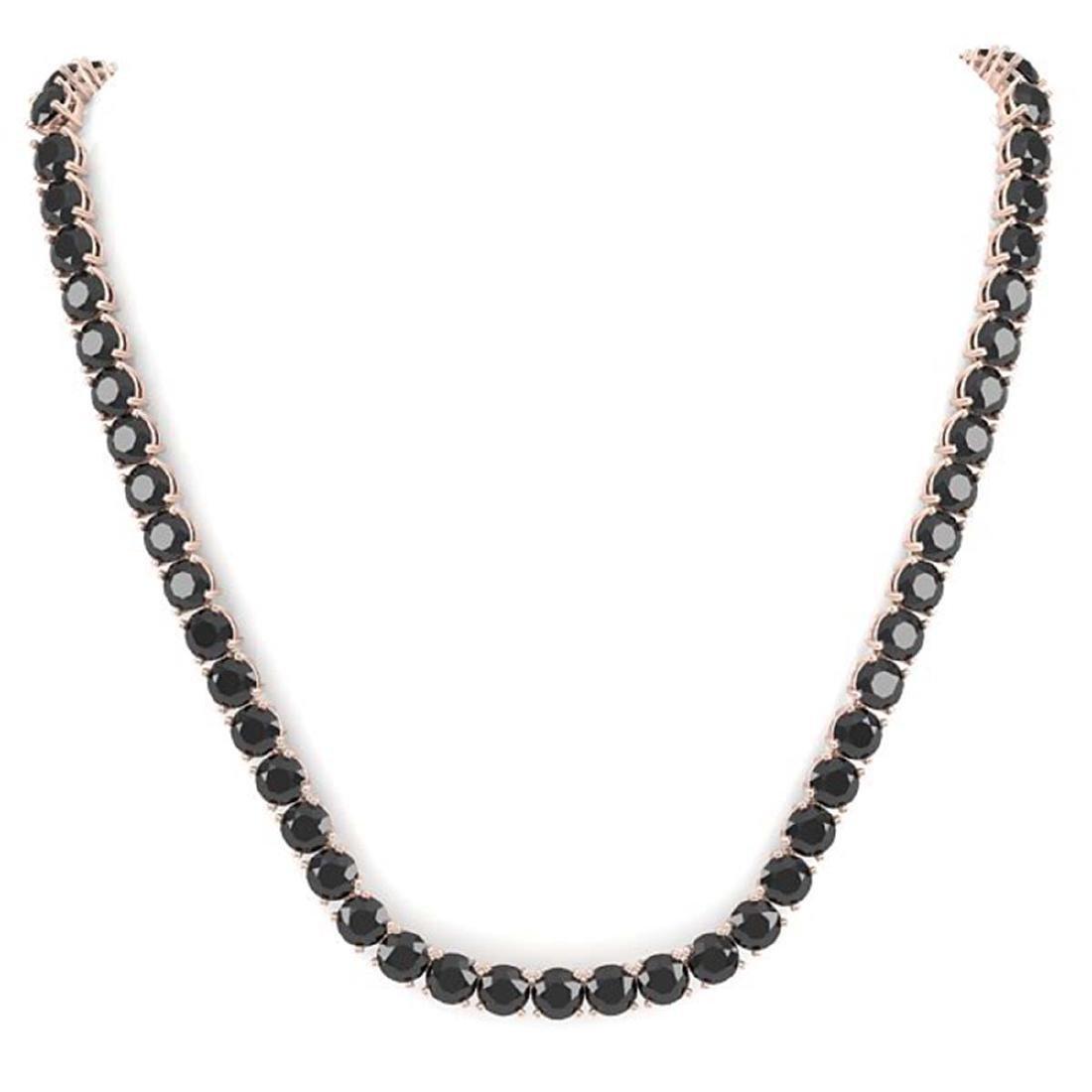 40 CTW Certified Black VS Diamond Necklace 14K Rose - 3
