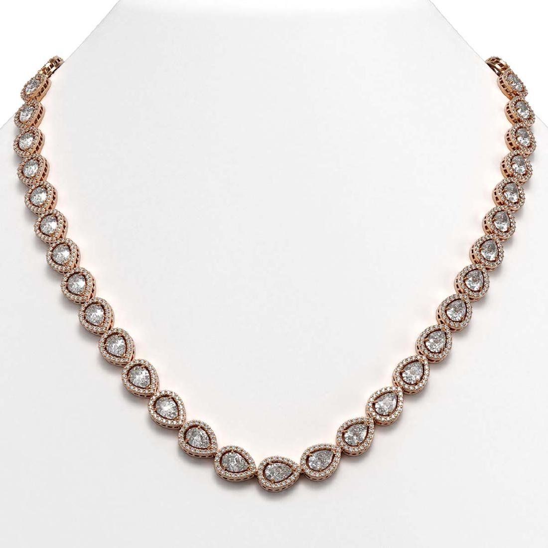 33.08 CTW Pear Diamond Designer Necklace 18K Rose Gold