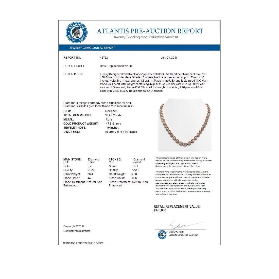 33.08 CTW Pear Diamond Designer Necklace 18K Rose Gold - 4