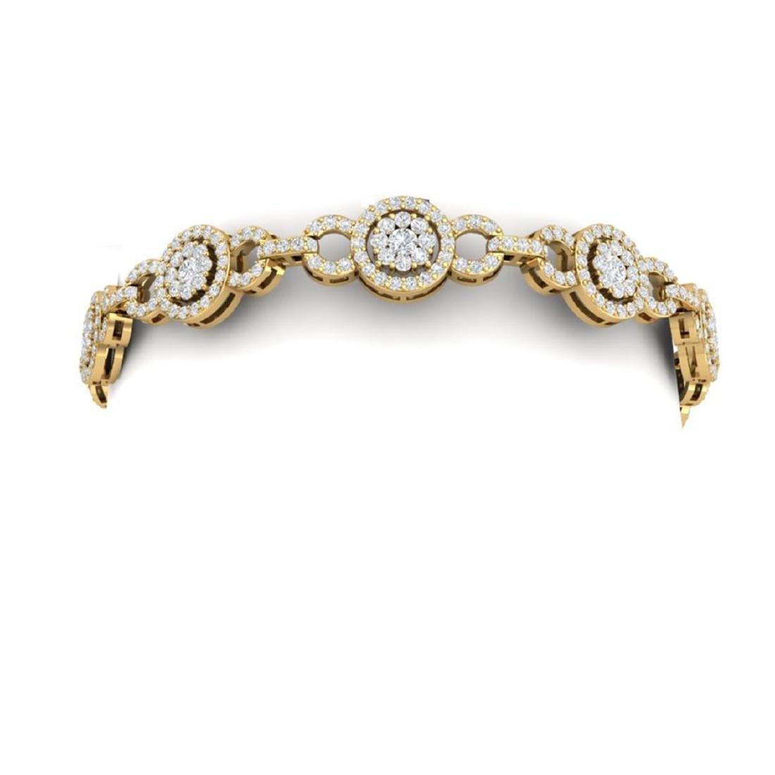 5 CTW Certified SI/I Diamond Halo Bracelet 18K Yellow - 2